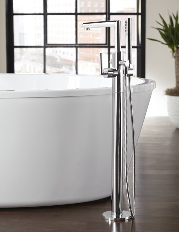 Arris Single Handle Floor Mount Tub Filler Trim With Hand Shower
