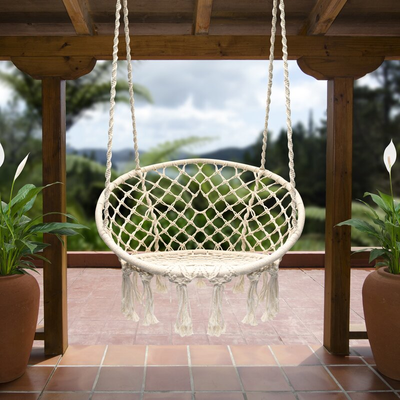 Bungalow Rose Cottle Hanging Rope Swing Chair Wayfair Ca