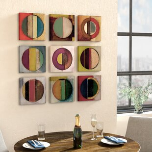Textured Circles Green And Red 9 Piece Canvas Wall Art Set