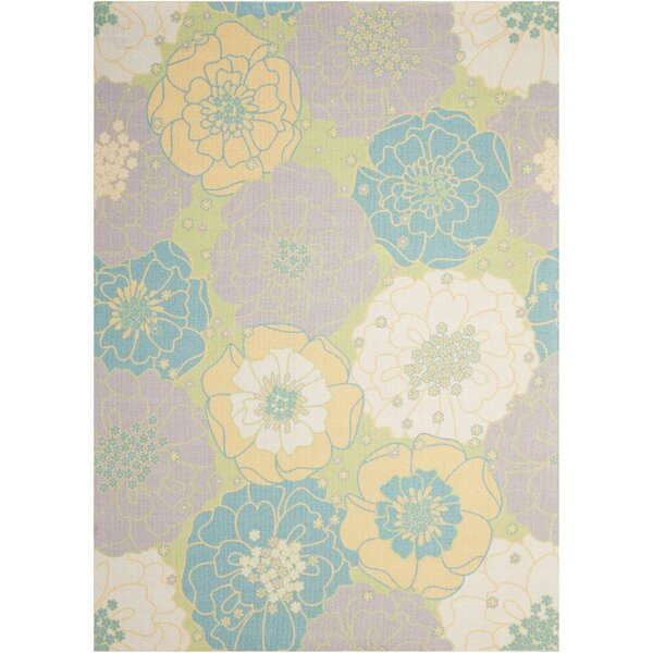 Charlton Home Wright Teal Blue Yellow Indoor Outdoor Area Rug
