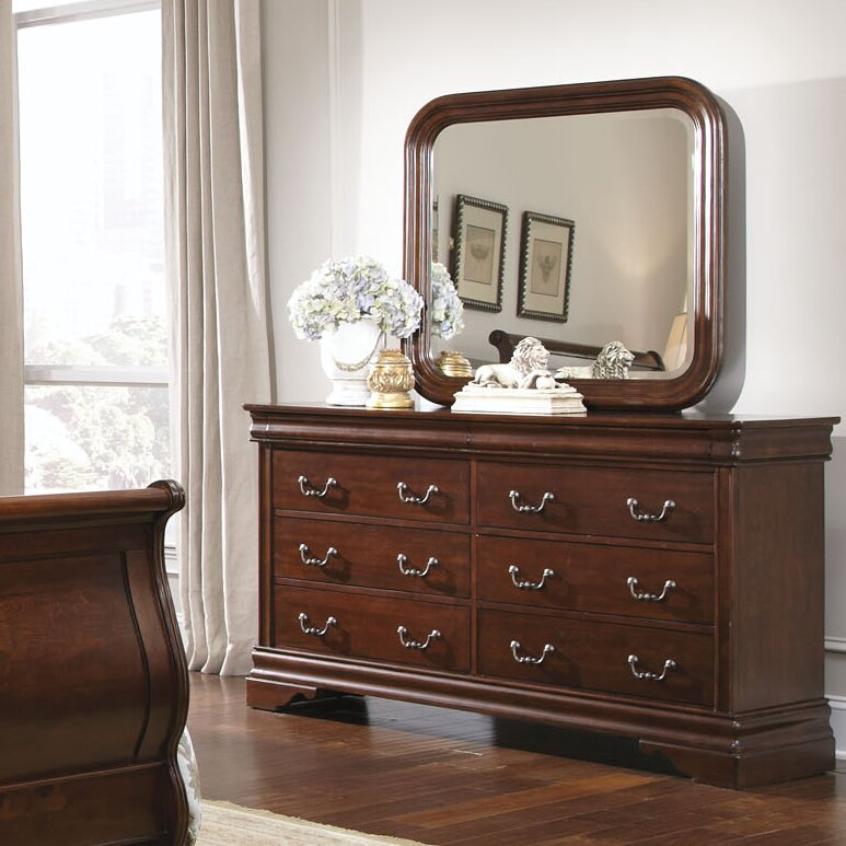 Carriage Court 8 Drawer Double Dresser With Mirror