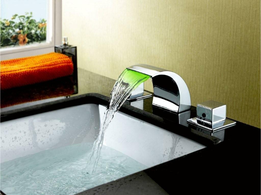 Bathroom Sinks And Faucets sumerain double handle widespread led waterfall bathroom sink