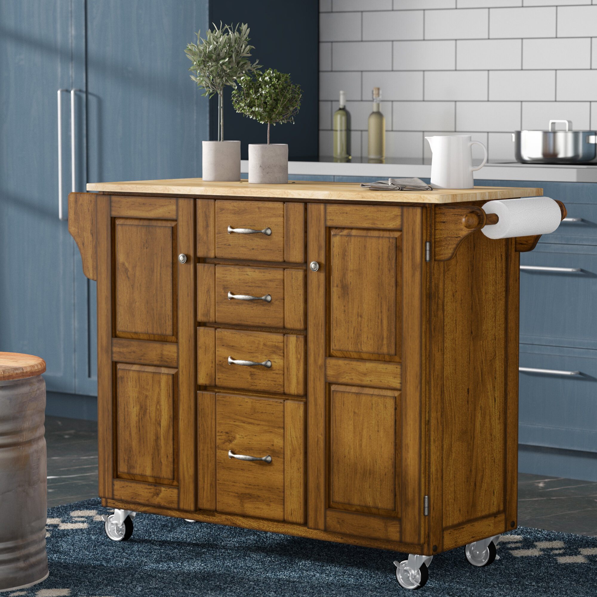 August Grove Adelle a Cart Kitchen Island with Butcher Block Top