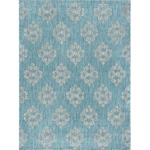 Bella Transitional Aqua Indoor/Outdoor Area Rug