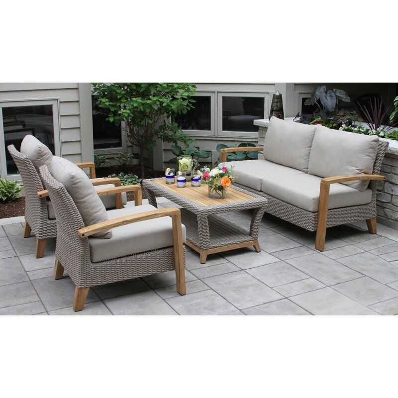 Dillard 4 Piece Rattan Sofa Seating Group With Cushions