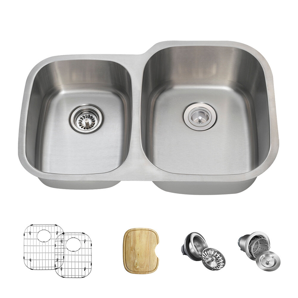 503r 16 Ens Stainless Steel 32 X 21 Double Basin Undermount Kitchen Sink With Additional Accessories