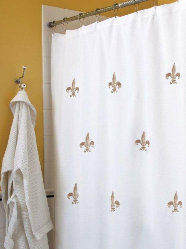 Fleur De Lis Embroidered Shower Curtain