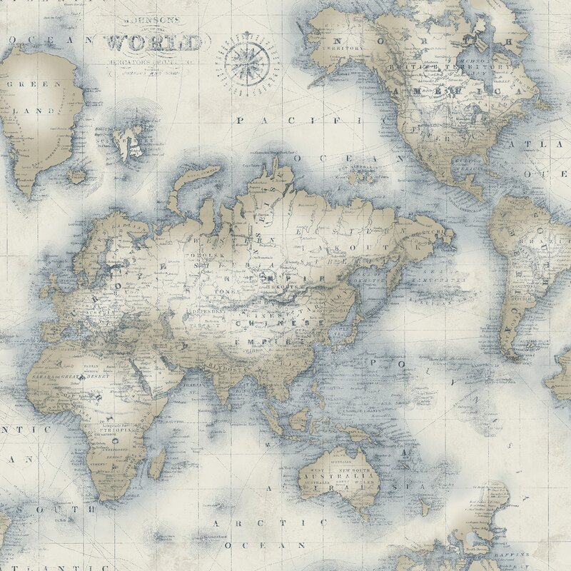 Brewster Home Fashions Seaside Living Mercator 33 X 20 5 World Map