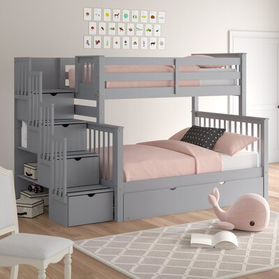 Harriet Bee Tena Stairway Twin over Full Bunk Bed with Trundle Bed Frame Color: Gray, Size: Twin Over Full Over Full