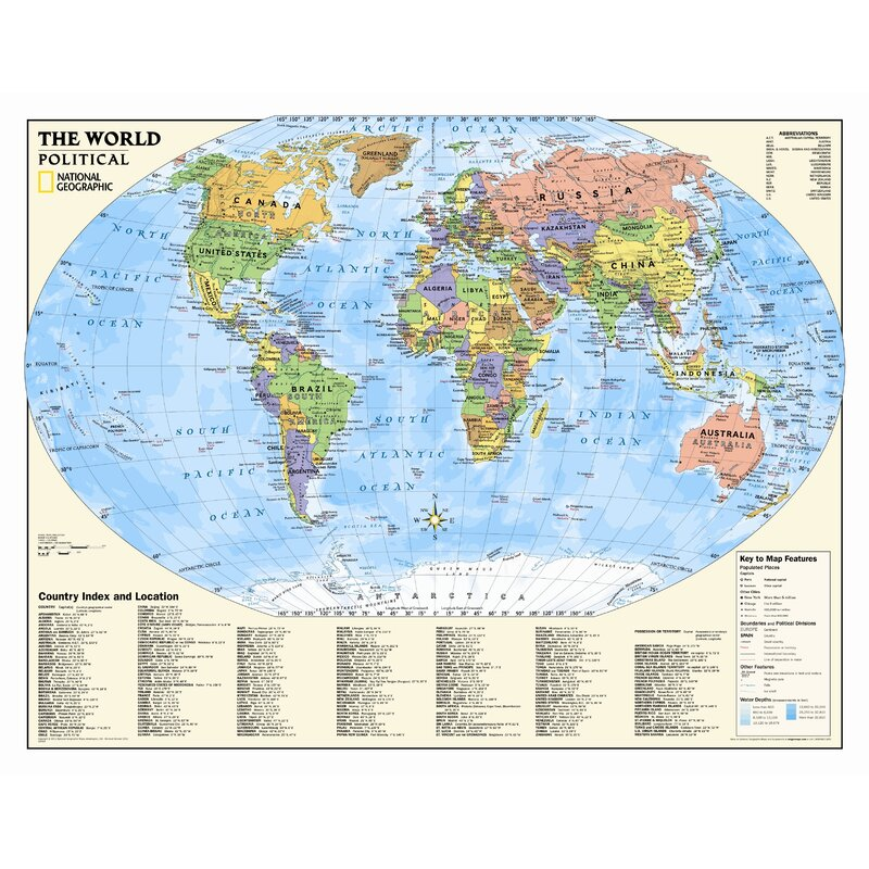 Kids Political World Wall Map (Grades 4-12) on