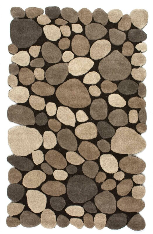 Awesome Alpert Pebbles Hand Tufted Dark Brown Area Rug
