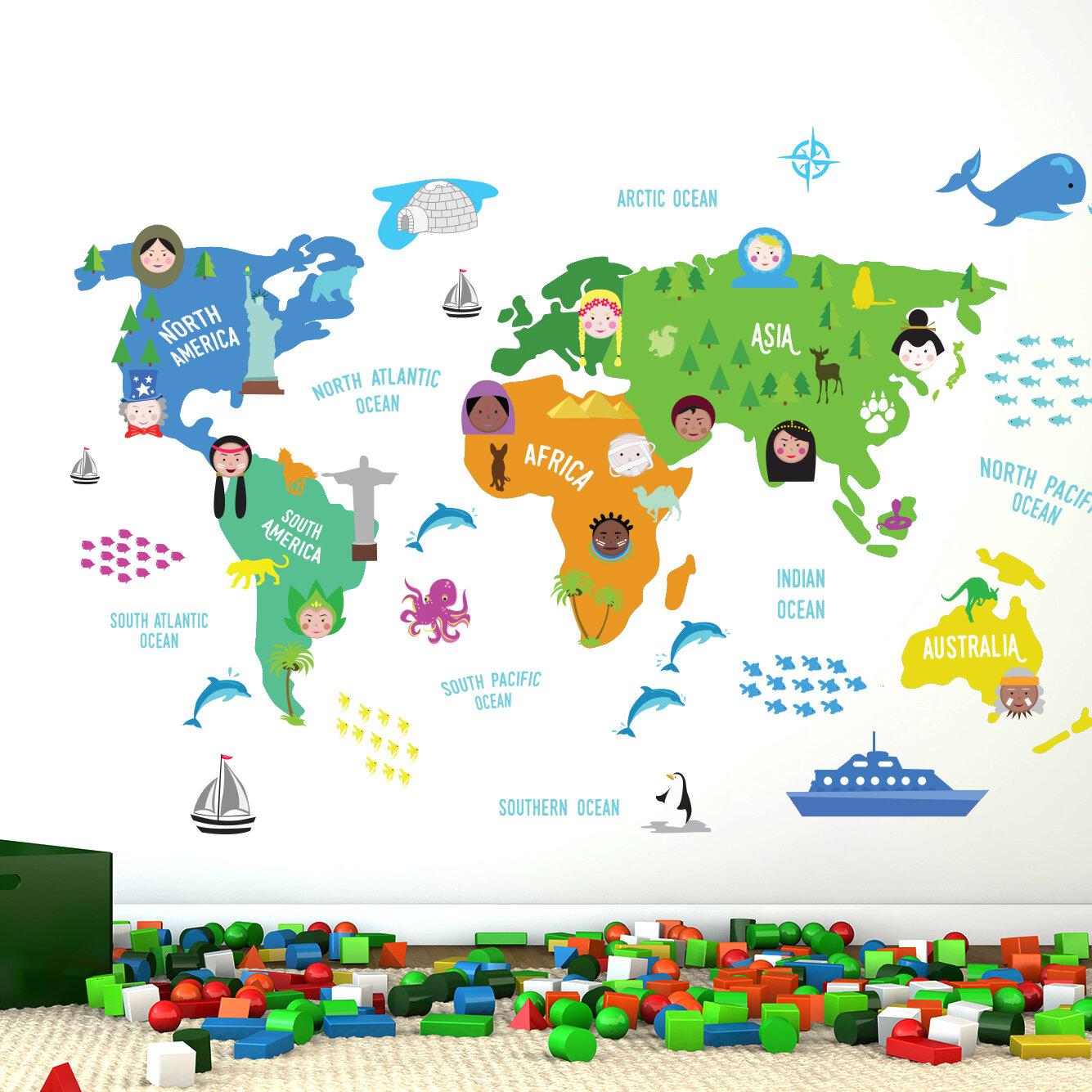 Walplus nursery world map wall decal reviews wayfair gumiabroncs Choice Image