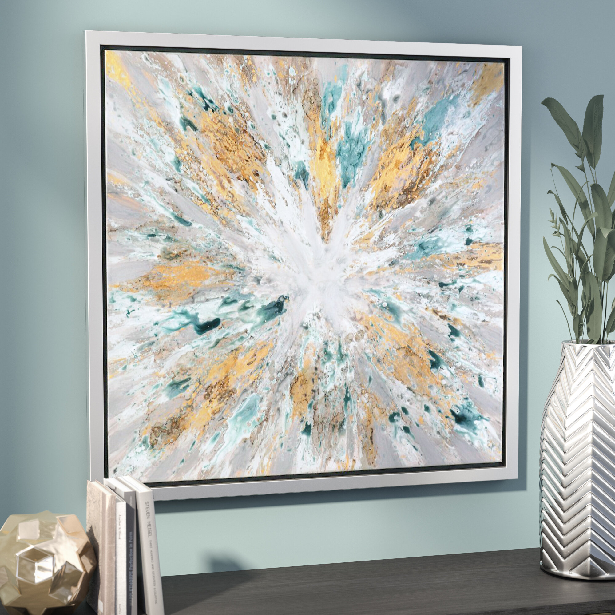 Willa Arlo Interiors \'Exploding Star Modern\' Abstract Framed Oil ...