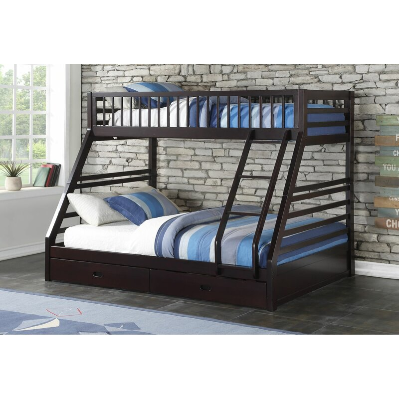 Harriet Bee Haslingden Twin Xl Over Queen Bunk Bed With Drawers