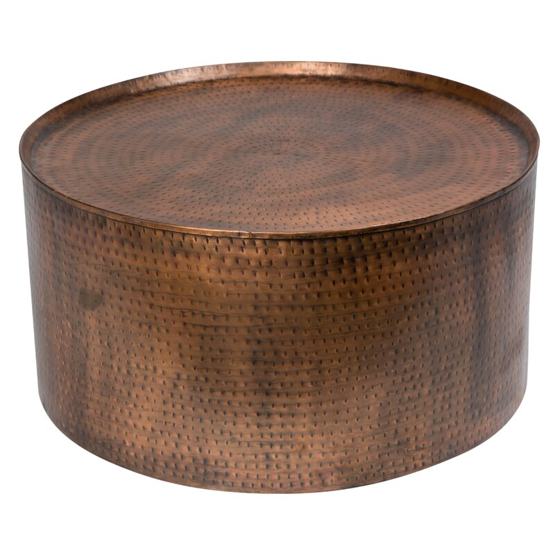 Rotonde Hammered Metal Industrial Round Coffee Table. Porter International Designs Rotonde Hammered Metal Industrial
