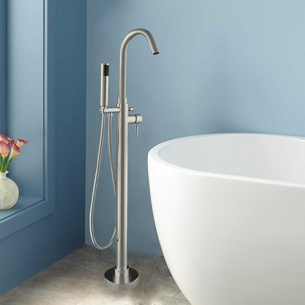 WoodBridge Single Handle Floor Mounted Freestanding Tub Filler with ...