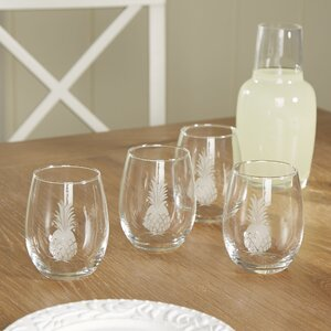 Pineapple Hand-Cut Stemless Wine Glass (Set of 4)