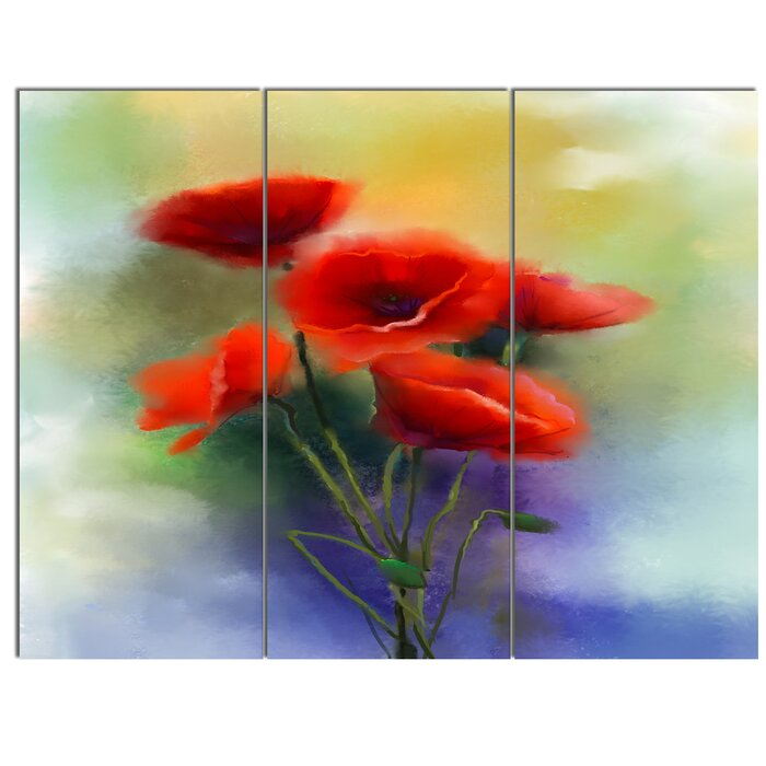 Designart watercolor red poppy flowers painting 3 piece painting watercolor red poppy flowers painting 3 piece painting print on canvas set mightylinksfo Image collections