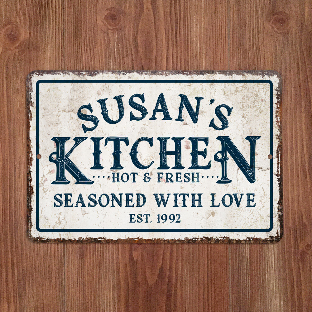 Personalized distressed vintage look kitchen metal sign wall décor reviews joss main