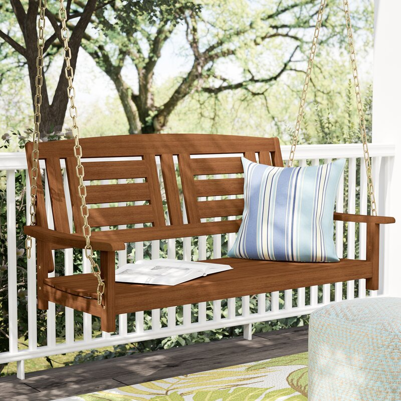 Langley street arianna hardwood hanging porch swing for Outdoor furniture langley