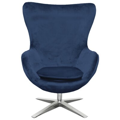 Brayden Studio Leday Swivel Balloon Chair Upholstery: Midnight Blue
