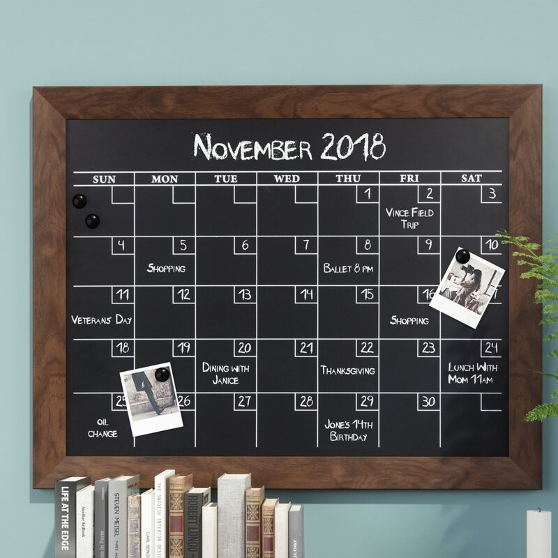 Union Rustic Framed Monthly Calendar Magnetic Wall Mounted