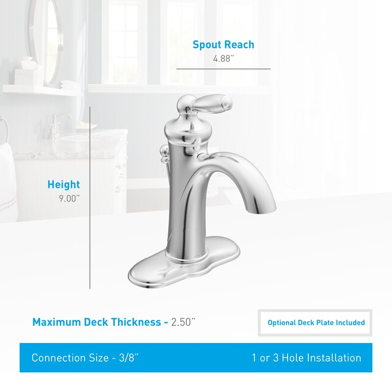 Moen Brantford Single Hole Bathroom Faucet with Drain Assembly ...