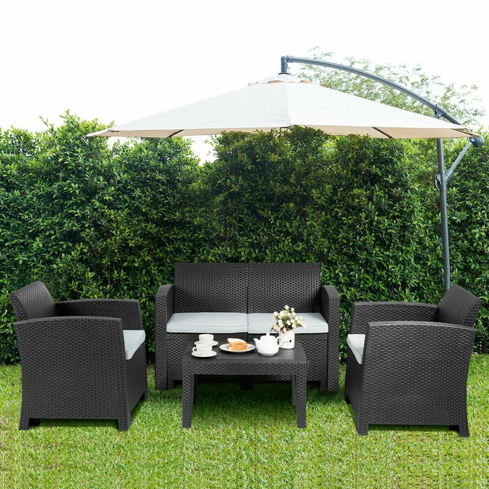 Swell 4 Piece Patio Furniture Set Moulded Rattan Sectional Sofa Set Coffee Table Coffee Home Interior And Landscaping Mentranervesignezvosmurscom
