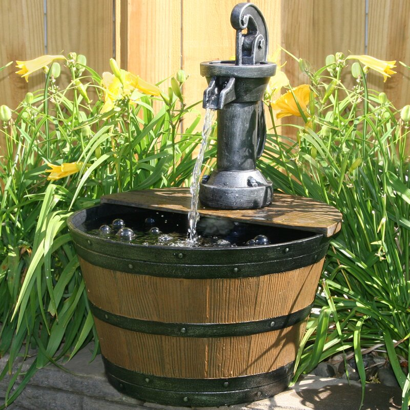 Fibergl Resin Water Pump With Lighted Barrel Fountain