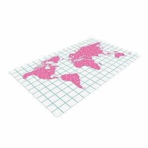 Famenxt Grid Map Mint Pink Green/Digital Area Rug