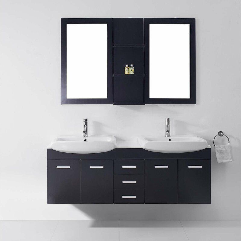 Ultra Modern Series 59 Double Bathroom Vanity Set With White Stone Top And Mirror
