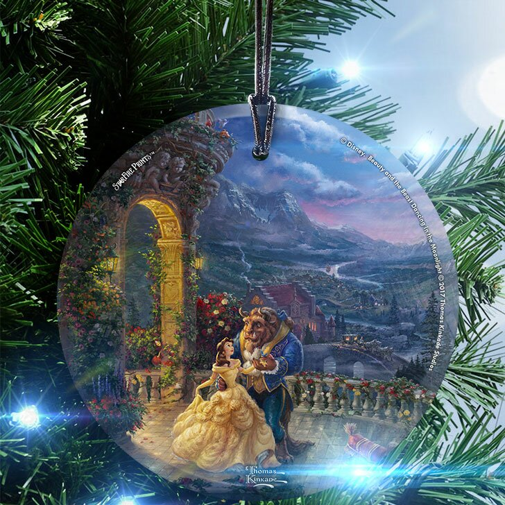 disney beauty and the beast dancing in the moonlight hanging shaped ornament - Disney Beauty And The Beast Christmas Decorations