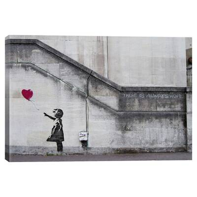 There Is Always Hope Balloon Girl By Banksy Graphic Art Print On Canvas