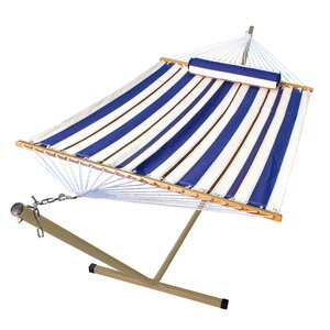 nathaly 2 piece polyester hammock with stand set hammock and stand set   wayfair  rh   wayfair