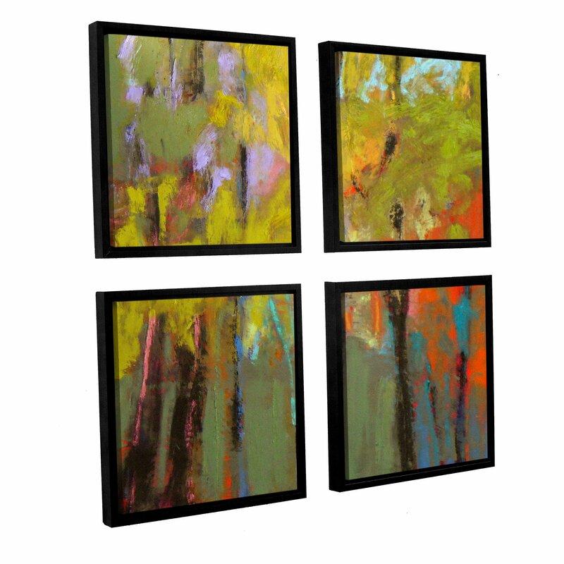 Latitude Run \'Trees Three\' 4 Piece Framed Painting Print Set   Wayfair