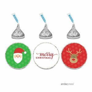 216 Piece Merry Christmas Santa and Rudolph Reindeer Chocolate Drop Label Sticker (Set of 216)
