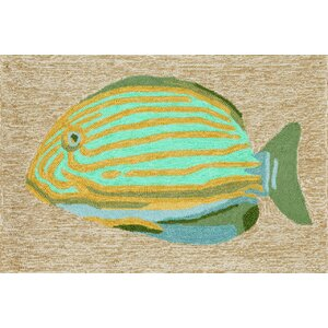 Cleghorn Striped Fish Neutral Indoor/Outdoor Area Rug