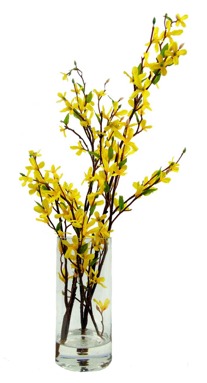Creative Branch Faux Forsythia Floral Arrangement in Decorative Vase ...