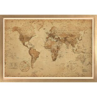 Framed world map wayfair world map antique framed graphic art gumiabroncs Image collections