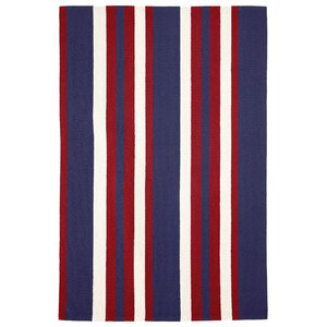 Cranford Nautical Stripe Hand-Tufted Red/Blue Indoor/Outdoor Area Rug