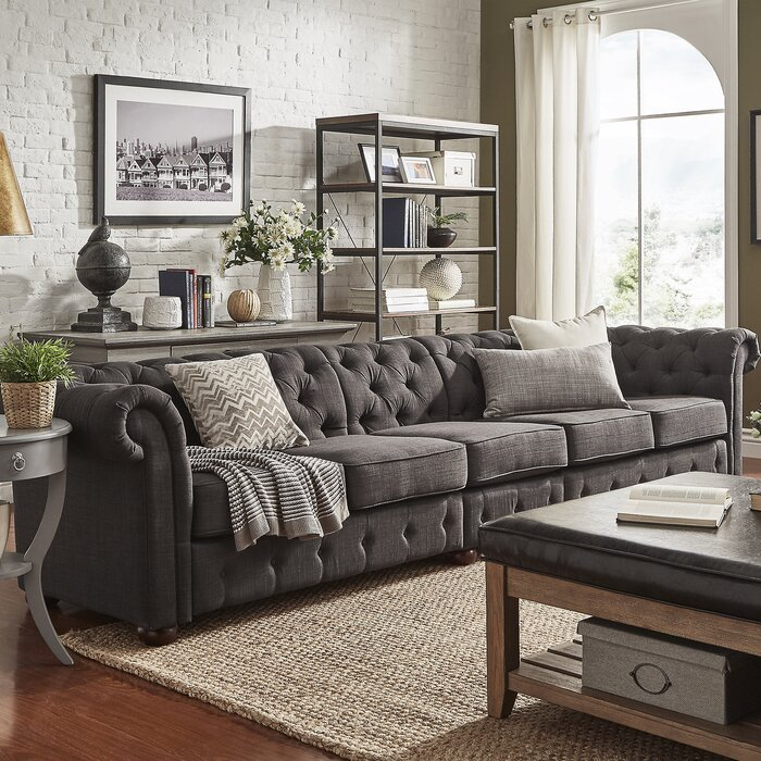 Gowans 5 Seater Button Tufted Chesterfield Sofa