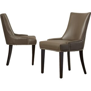 Cutler Genuine Leather Upholstered Dining Chair (Set of 2) by Alcott Hill