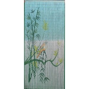 Bird On A Bamboo Tree Scene Graphic Print & Text Semi-Sheer Single Curtain Panel