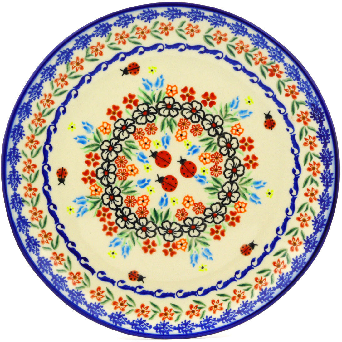 Polmedia Fanciful Ladybug Polish Pottery Decorative Plate | Wayfair