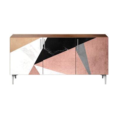 Brayden Studio Lovett Sideboard Color (Base/Top): Chrome/Walnut