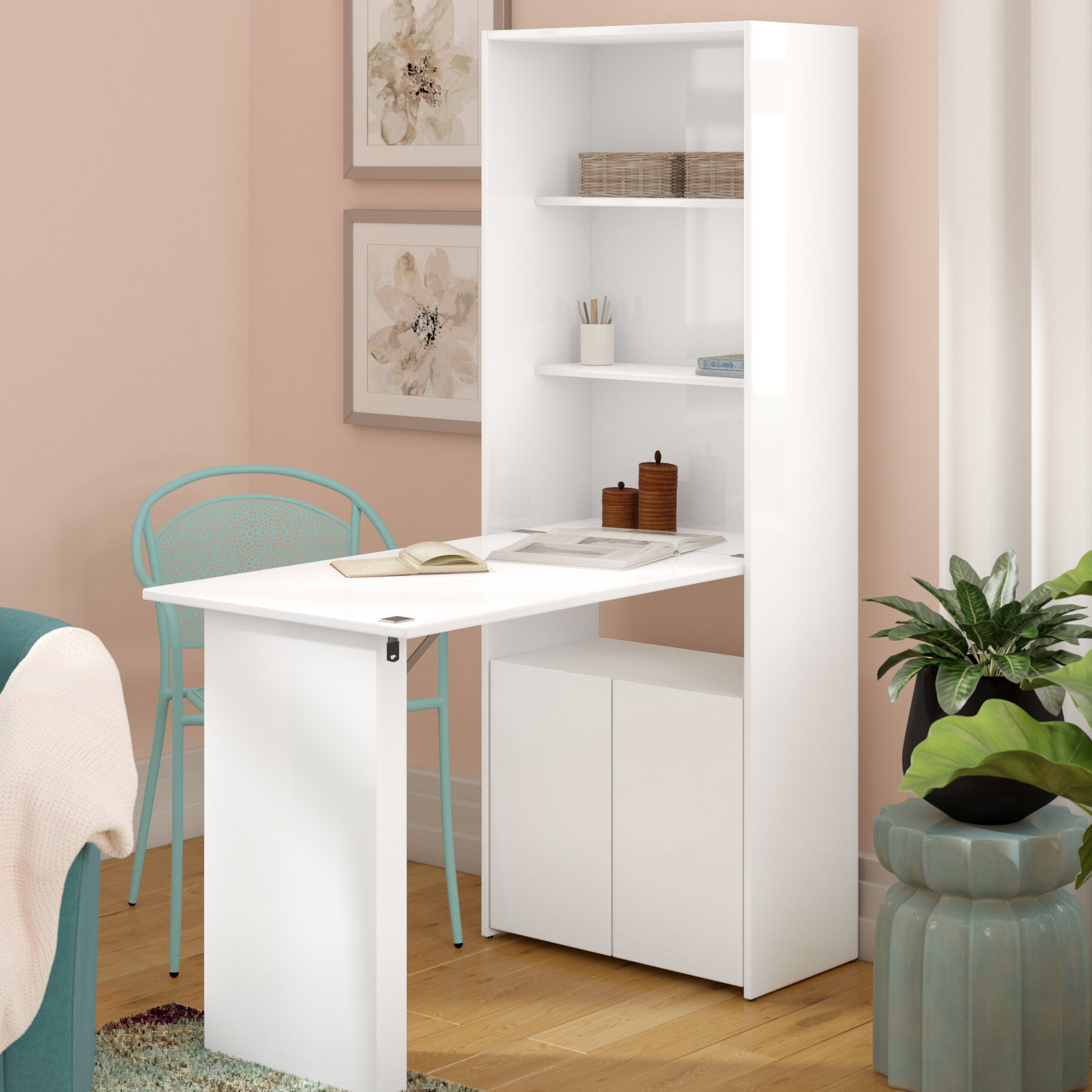 Laude Run Veazey Writing Desk With Bookcase