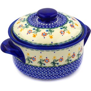 Spring Flowers Round Non-Stick Polish Pottery Baker with Cover