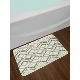 Chevron Overling Lines Thin And Thick Old Clical Non Slip Plush Bath Rug