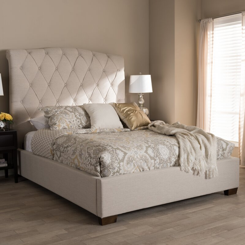 Leavy Upholstered Sleigh Bed Color: Beige, Size: Queen