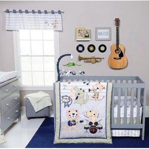 Safari Rock Band 6 Piece Crib Bedding Set